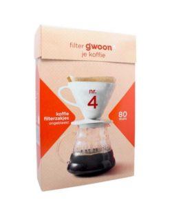 فیلتر کاغذی قهوه دمی 80 عددی سایز 4 gwoon هلند