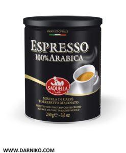 پودر قهوه ساکوئلا 100% عربیکا اسپرسو SAQUELLA ESPRESSO 100% ARABICA