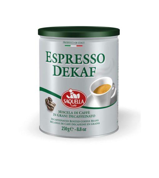 دانه قهوه اسپرسو دیکف (بدون کافئین) ساکوئلا 250 گرمی SAQUELLA Espresso DEKAF